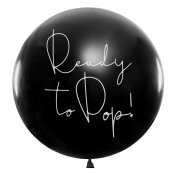 Ballong jätteballong svart ready to pop rosa konfetti gender reveal party BG36-1-D PartyDeco