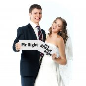 Bröllopsskyltar bröllop skyltar mr right mrs always right photo booth kort fest PartyDeco TDZ3