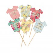 Cupcake dekorationer cake picks toppers truly baby shower vintage Talking Tables