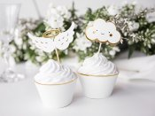 Cupcake dekorationer toppers muffins moln vingar gloria vit guld konfirmation first communion PartyDeco KPM28