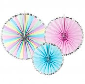 Paper fan rosett pastell enhörning unicorn pin wheel kalas PartyDeco RPK11