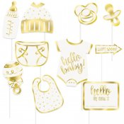 Photo Booth tillbehör props kit hello baby shower guld vit GoInt U73523