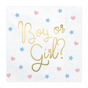Servetter boy or girl gender reveal party baby shower rosa blå SP33-78 PartyDeco