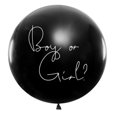Ballong jatteballong svart gender reveal boy or girl rosa konfetti flicka PartyDeco BG36-2-D