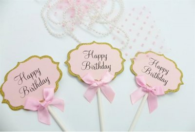 Cake picks rosa cupcake dekorationer toppers happy birthday födelsedag muffins