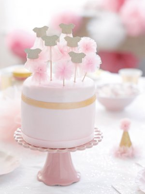 Tårtdekorationer rosa cake toppers tyllkjol pom pom Talking Tables